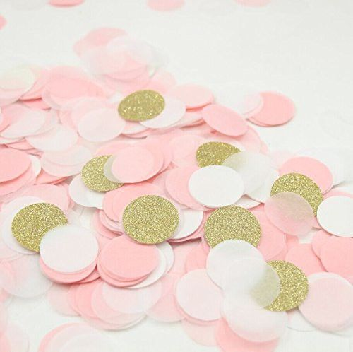 Since 2000 pieces Gold Pink Paper Table Confetti for Wedding Favor Valentine's Day Decoration 1 inch (2.5cm)