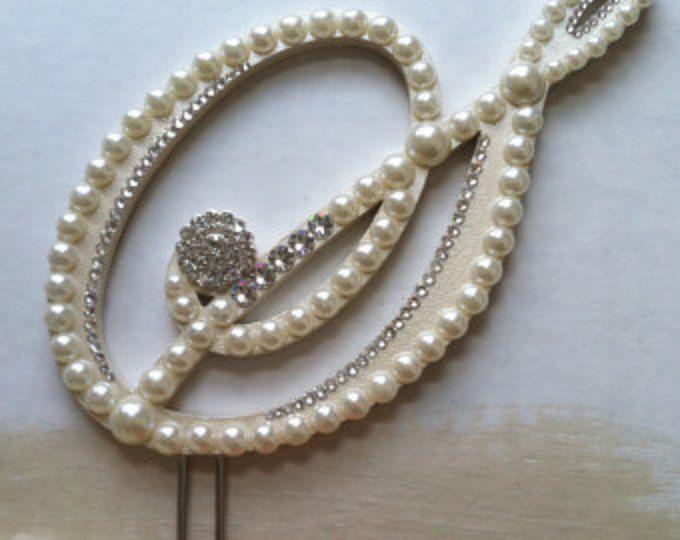 Monograma Topper de la torta perla de pastel de bodas Topper con cristales de Swarovski destino boda letra S cualquier letra A la Z