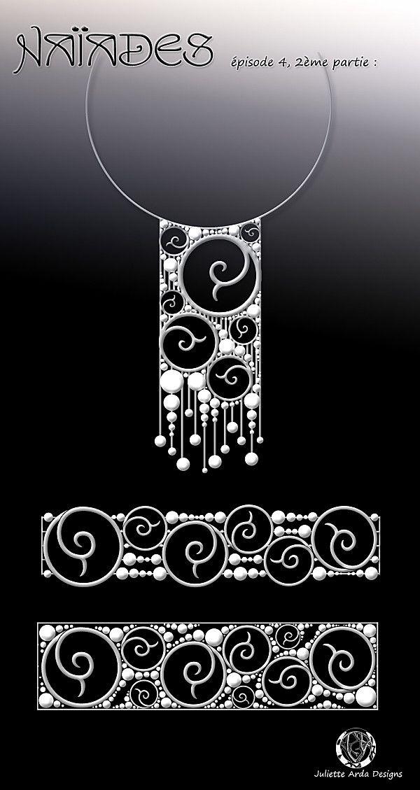 jewelery design for a mermaid, necklace, choker , bracelet, by Juliette Arda