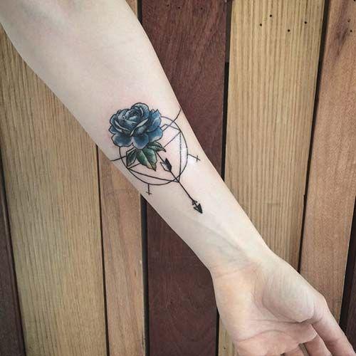 wrist blue rose tattoo bilek mavi gül dövmesi