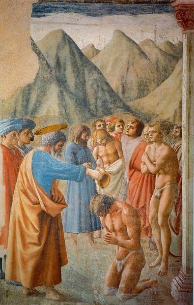 Крещение неофитов.Мазаччо — это великий художник раннего Возрождения. Он работал на самой заре расцвета живописи и внёс немалый вклад в становлении основных живописных законов и принципов. Учителями Мазаччо были Филиппо Брунеллески (1337-1446) и Донателло (1386-1466). Мазаччо стал известен именно своей религиозной живописью. Современные исследователи считают, что самым первым произведением Мазаччо был Триптих Святого Ювеналия,