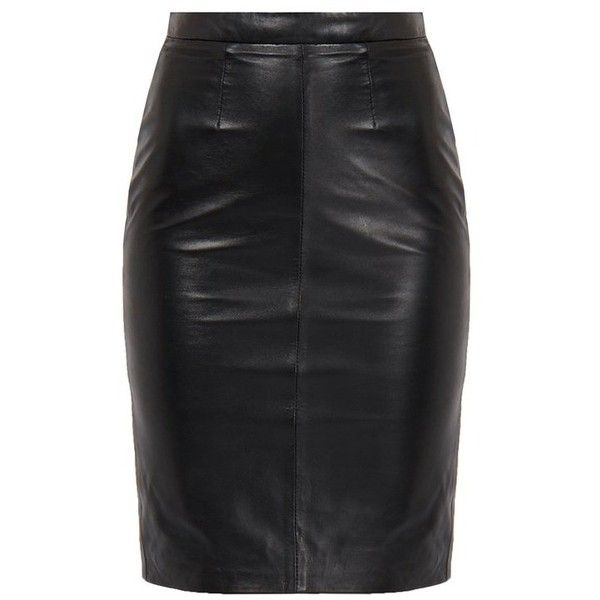 Crisia Black High-Waisted Leather Pencil Skirt ❤ liked on Polyvore featuring skirts, high-waist skirt, high waist knee length pencil skirt, high rise skirts, high-waisted skirts and real leather skirt