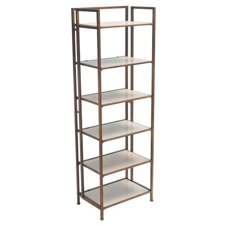 featuring 6 white shelves and a iron frame this chic etagere is