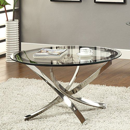 Coaster Home Furnishings 702588 Contemporary Coffee Table, Chrome. Round  Glass ...