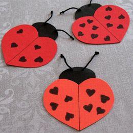 Ladybugs punch art - heart punch - bjl