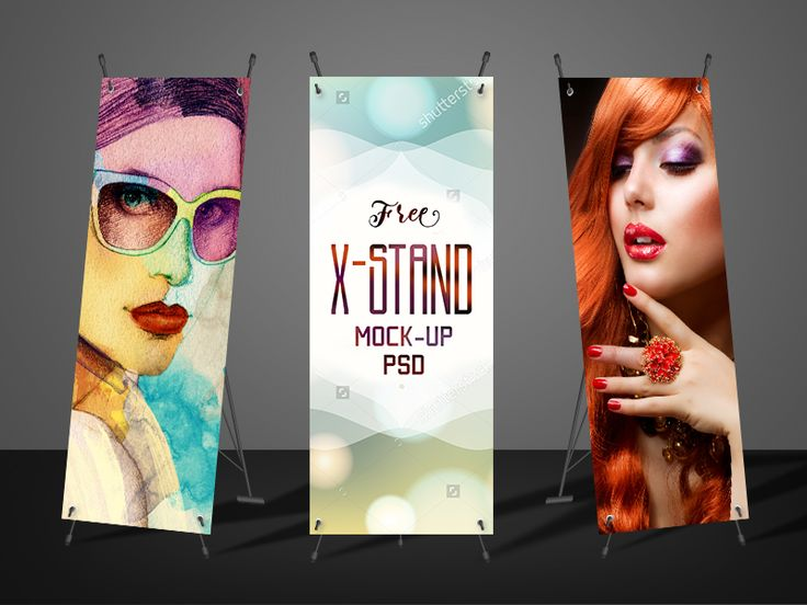 Free X-Stand Banner Mockup PSD