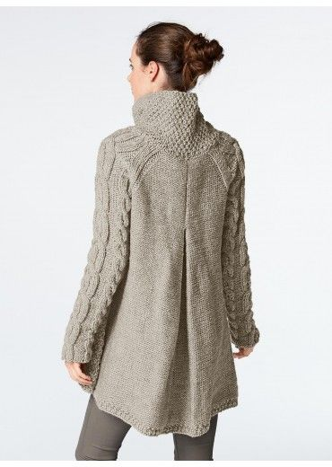 Cat. 14/15 - n° 982 A-line cardigan ~ I love the collar and cables.