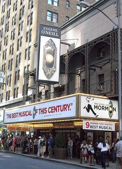 The Book of Mormon Theatre Marquee on Broadway - Information, Cast, Crew, Synopsis and Photos - Playbill Vault  2011 Tony Best Musical