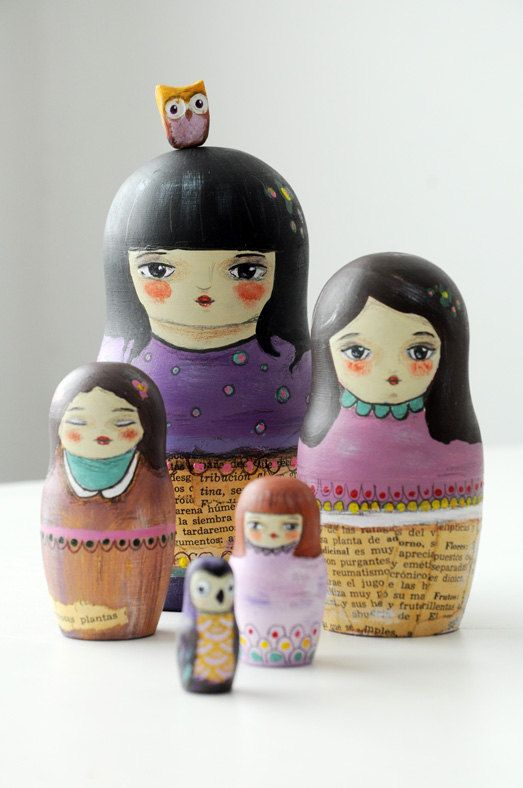 "Matrioshka!  These charming wooden ""nesting dolls"" were created by Munieca. She uses acrylics and vintage paper. <3!"