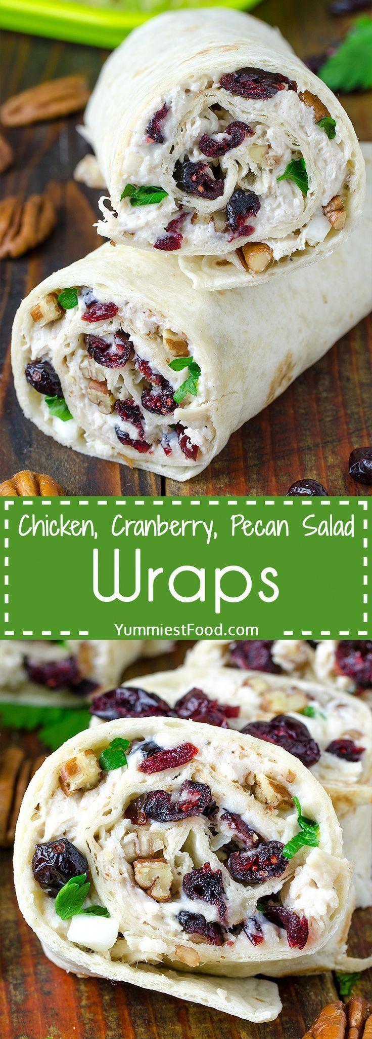 Hühnchen, Cranberry, Pekannuss Salat Wraps   – Salad wraps