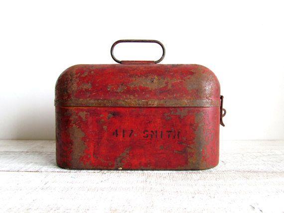 Vintage Industrial Rustic Red Metal Lunch Box by iasVintage, $45.00