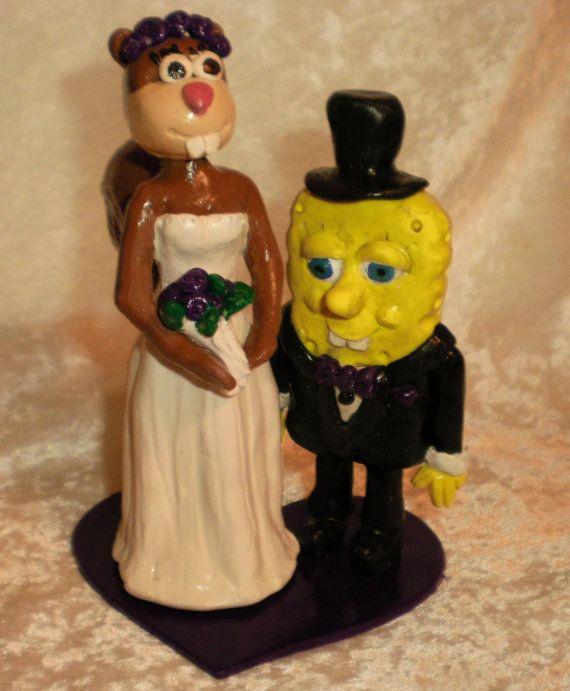 Spongebob And Sandy Custom Wedding Cake Topper Bride By