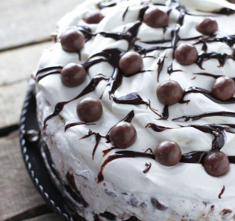 Chocolate Malt Ice Cream Cake - Layers of chocolate cake, fudge, ice cream and malted milk balls