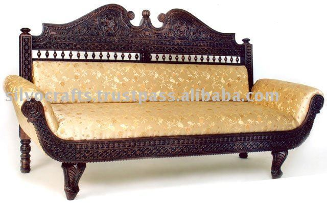 Royal Indian Rajasthani Jodhpur Hand Carved Teak Wooden Sofa Diwan Sets Chaise Lounge Carved