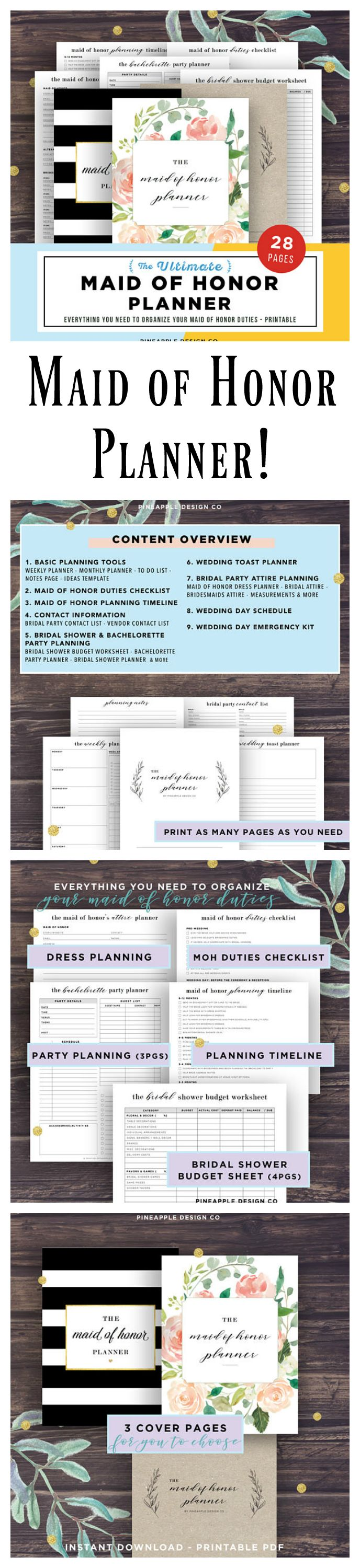 The perfect planner gift for your Maid of Honor!! First, find the MOH Duties Checklist and MOH Planning Timeline for a big picture overview of the MOH's role in the wedding planning process. Next, find specific aids for major bridal events, such as the Bridal Shower and Bachelorette Party Planners. Furthermore, from a Wedding Toast Planner to Bridesmaid Attire Worksheets to Bridal Party Contact Lists - this planner set is guaranteed to simplify the MOH's life! #ad