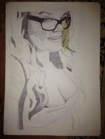 Self-Portrait. Black Biro on A1 Cartridge Paper with Masking Tape - Chelsie Cater-Tooby
