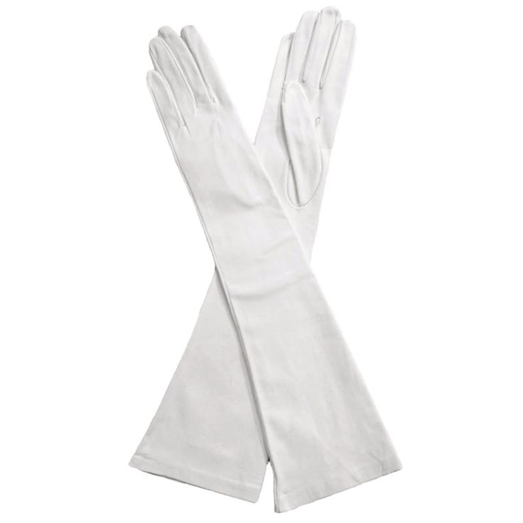 Elbow Length Italian  Made Leather Gloves, White, Silk Lined 12-button