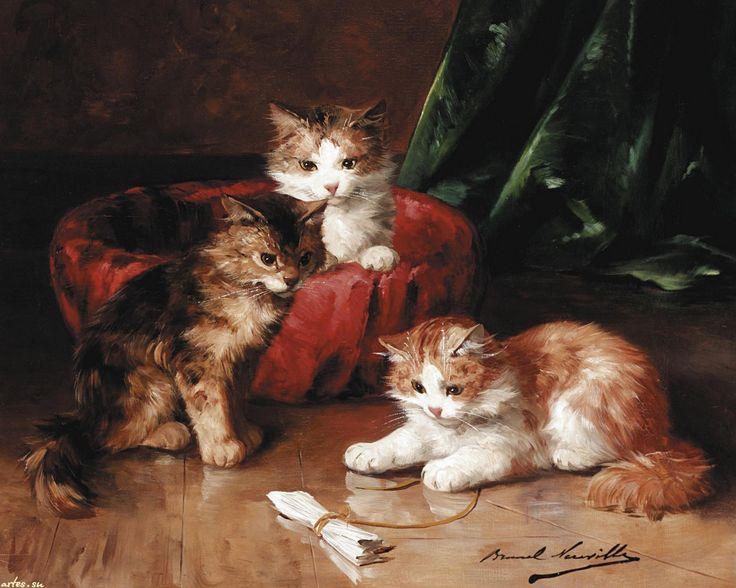 Скачать обои животные, пушистые котята, Alfred Brunel de Neuville 1600x1200