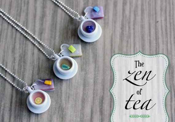 Polymer Clay Miniature Food Jewelry  Tea by MySecretCravings
