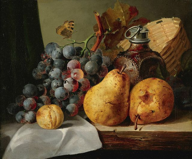 "Edward Ladell ""Pears, grapes, greengage, plums, stonewareflask, wicker basket on a wooden ledge"" (19th cent.) Oil on canvas 