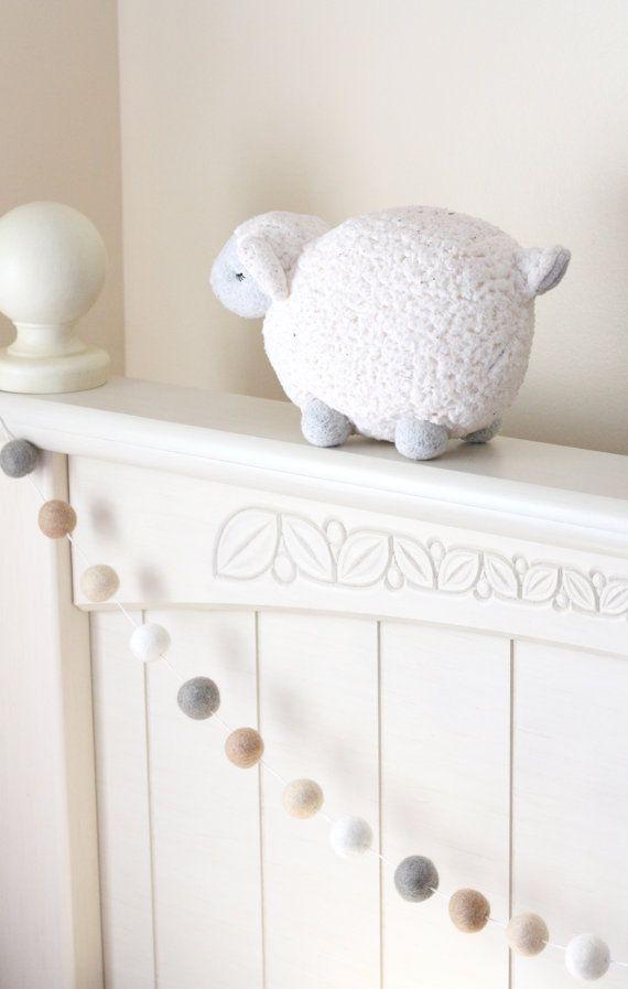 Pom Pom Garland Cream Beige White Gray Wool Felt by SheepFarmFelt