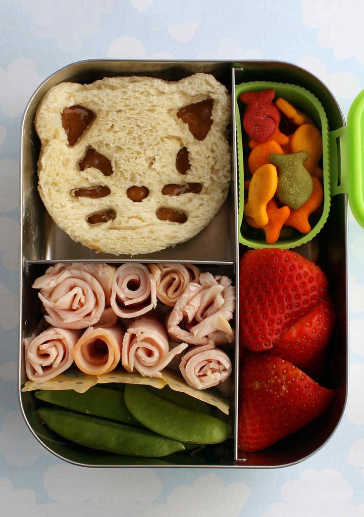 Jam Sandwich   Martha Stewart Living - Kids won't even notice that the peanut butter is missing from their PB&J if you cut the sandwich into a cute cat with a sandwich cutter! Add some turkey spirals for protein along with sugar snap peas, strawberries and fish-shaped crackers.