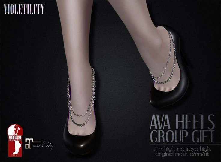 https://flic.kr/p/HNTdAB | Violetility Group Gift - Ava Heels | New group gift up at the mainstore! Come join the group or Subscribr to pick up this free pair of original mesh heels from Violetility. Rigged for Slink and Maitreya high feet.  SLURL: maps.secondlife.com/secondlife/Wochi/91/135/3455
