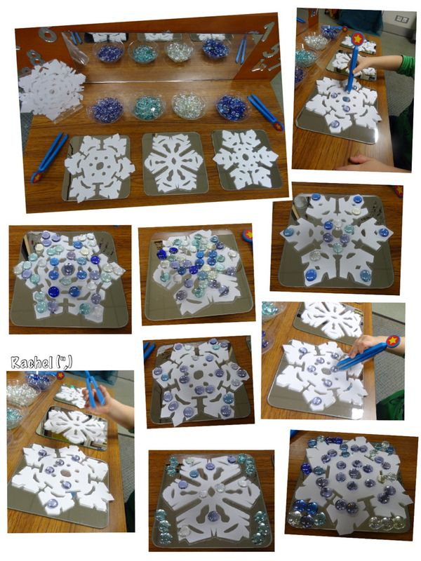 "Decorating laminated snowflakes on the Finger Gym from Rachel ("",)"