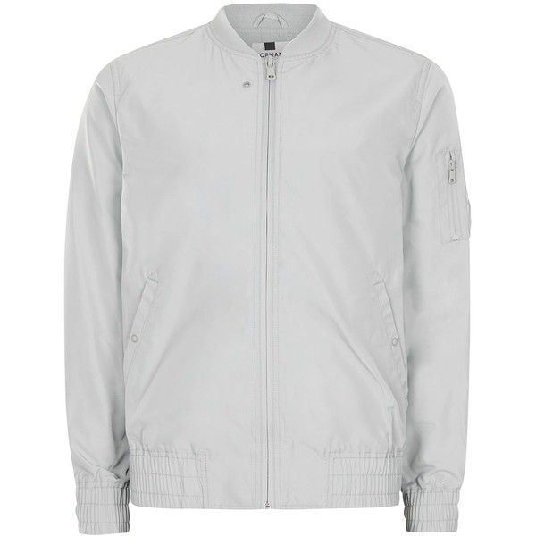 TOPMAN Light Mint Lightweight Bomber Jacket (105 BRL) ❤ liked on Polyvore featuring men's fashion, men's clothing, men's outerwear, men's jackets, grey, mens fur collar bomber jacket, mens grey bomber jacket, mens lightweight bomber jacket, mens light weight jackets and topman mens jackets
