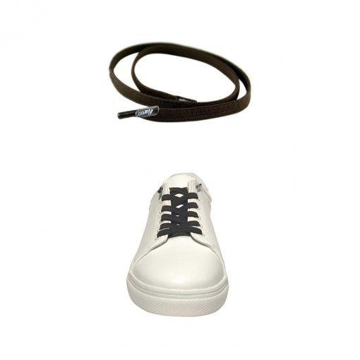 Leazy Flat Laces Dunkelbraun Material 100% Polyester Breite 6mm nie wieder Schuhe binden einmal eingefädelt bleibt die gewünschte Zugkraft erhalten