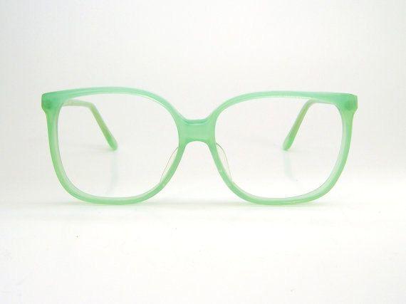 Mint Green Oversized Glasses // Vintage // Frames by besosvintage