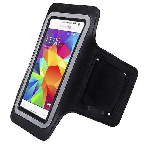 Black ArmBand Workout Case Cover For Samsung Galaxy Core Prime G360P with Free Pouch. Light-weight high quality material. Perfect fit. Very Comfortable. Built in Screen Protector. One Size fits all.