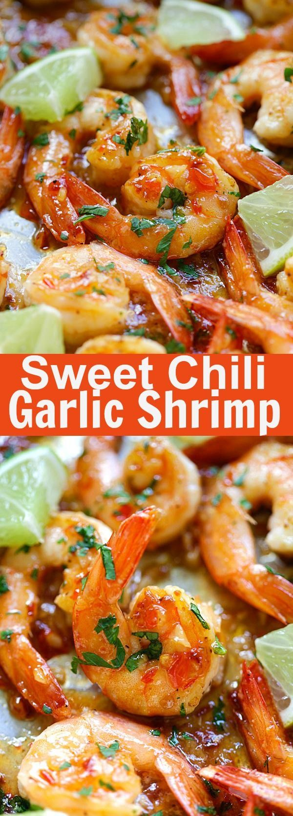Sweet Chili Garlic Shrimp – easiest and most delicious shrimp you can make in 15 mins with garlic and Thai sweet chili sauce. SO good | rasamalaysia.com