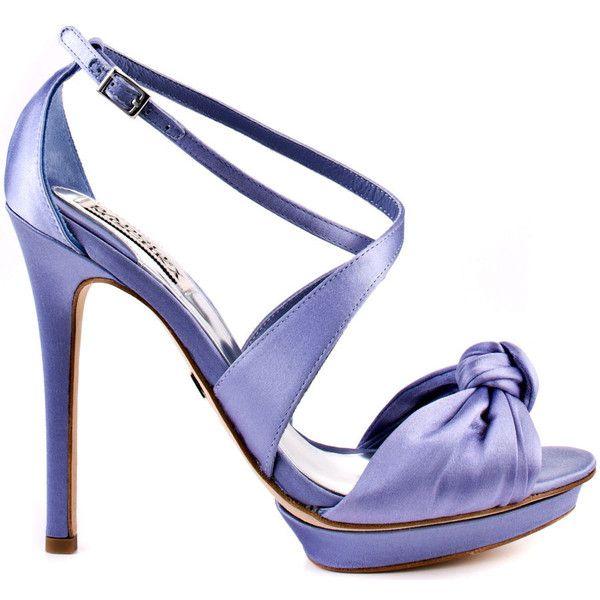 Badgley Mischka Women's Wallis II - Blue Satin ($182) ❤ liked on Polyvore featuring shoes, sandals, heels, purple, strappy heel sandals, strap sandals, ankle strap sandals, strappy platform sandals and platform heel sandals