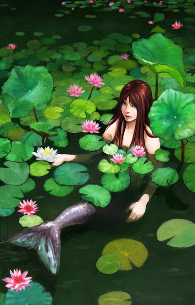 vfin:  http://society6.com/product/Mermaid-Among-Lillies_Print Mermaid Among Lillies by Crystal Chan