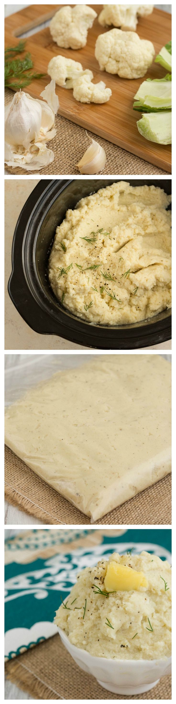Make Ahead Slow Cooker Cauliflower Mash #lowcarb #paleo