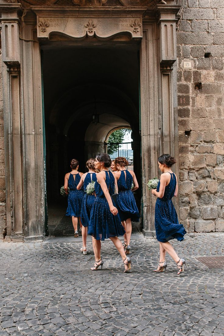 Navy French Connection Bridesmaids Dresses | Studio A+Q | Destination Wedding | http://www.rockmywedding.co.uk/jessica-pierre-michel/