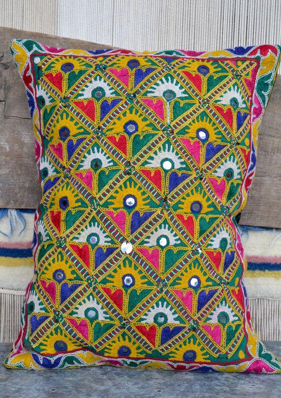 Indian textile cushion ethnic bohemian pillow decor mirrored