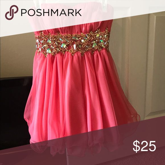 Teen Party Dress Coral with jewels - bubble style Dresses Strapless