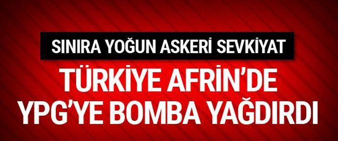 Suriye'de PYD/YPG'nin hakim olduğu Afrin bölgesinden Türkiye tarafına Doçka makineli tüfekle ateş edilmesine Türk topçusu anında misliyle karşılık verdi.