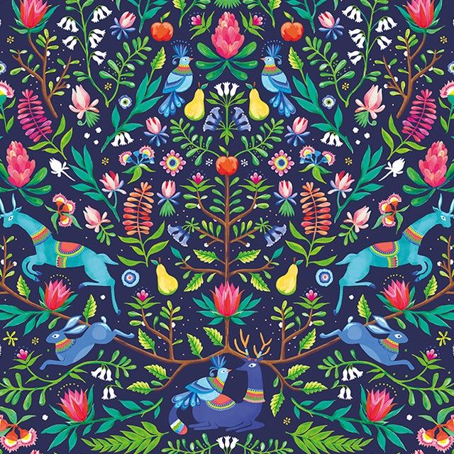 With its joyful expression of the rich artistic traditions of the Otomi women of Mexico, MOZI's new Folklorian uses bold colour and storytelling pattern to decorate the latest range. MOZI's talented designers have captured the essence of this ancient art