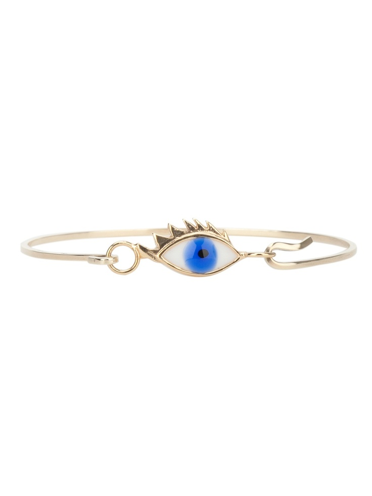 Gold plated silver 'Bloody tears' bracelet from Delfina Delettrez featuring a contrasting enamel eye print and a double hook fastening.