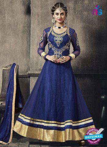 Madhushala 57008 Blue and Golden Net and Georgette Anarkali Suit