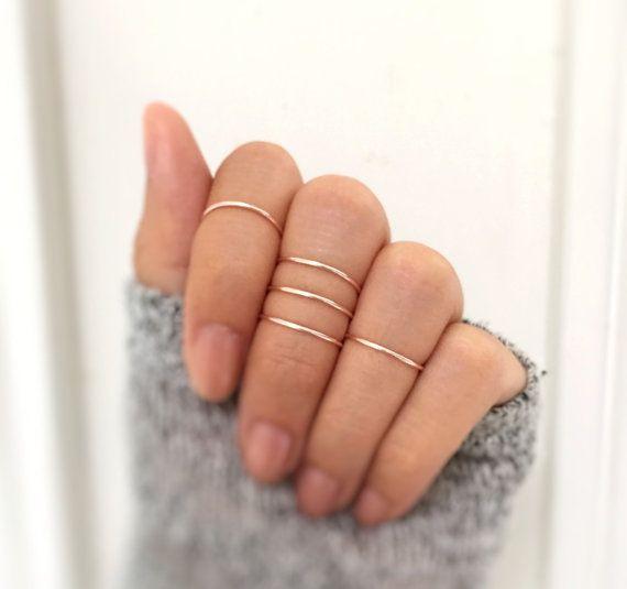 Gift - Rose gold knuckle ring set of 5,midi rings,delicate rings,ring set,rose gold rings,rose gold midi rings,minimalist ring,hammered midi