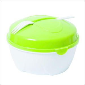 Trainer On-The-Go Salad Bowl. This ABS Plastic salad bowl includes a topping tray with four compartments, a fork that slides into the lid for storage and dressing container that nests in the topping tray and has a twist lid for closure.