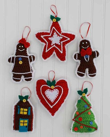 Picture of Gingerbread Christmas Tree Ornaments Crochet Pattern