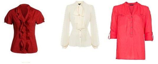 Unikać: Bluzki z plisami, delikatne bluzki i bezwymiarowe.
