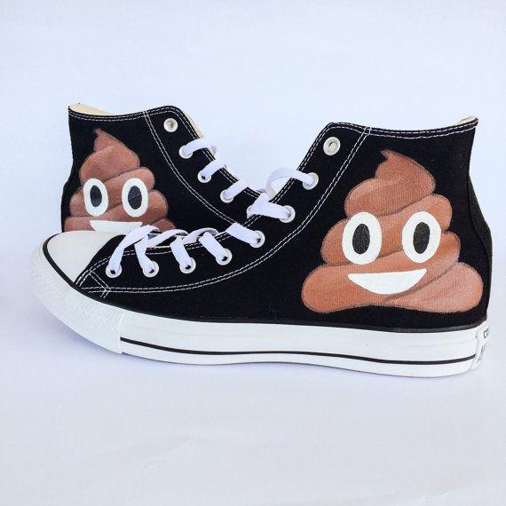 Poop Emoji Custom Converse Shoes by IntellexualDesign on Etsy