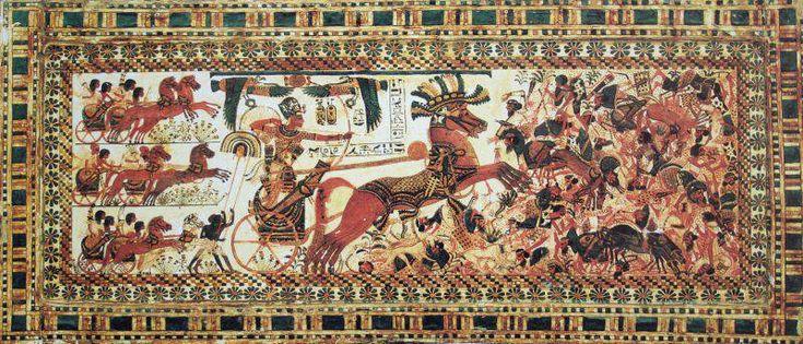 Фараон Тутанхамон на колеснице. Роспись по дереву, длина 43 см. (Египетский музей, Каир)