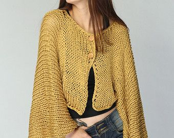 Mustard Yellow Kimono sleeve shrug/ little cardigan - ready to ship